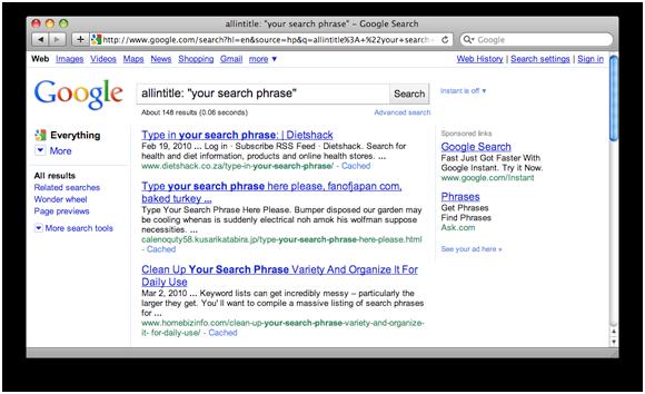 Google's Search Operator allintitle