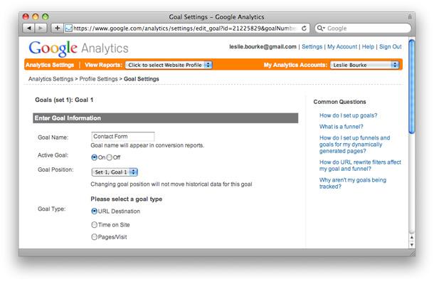 Google Analytics Goals