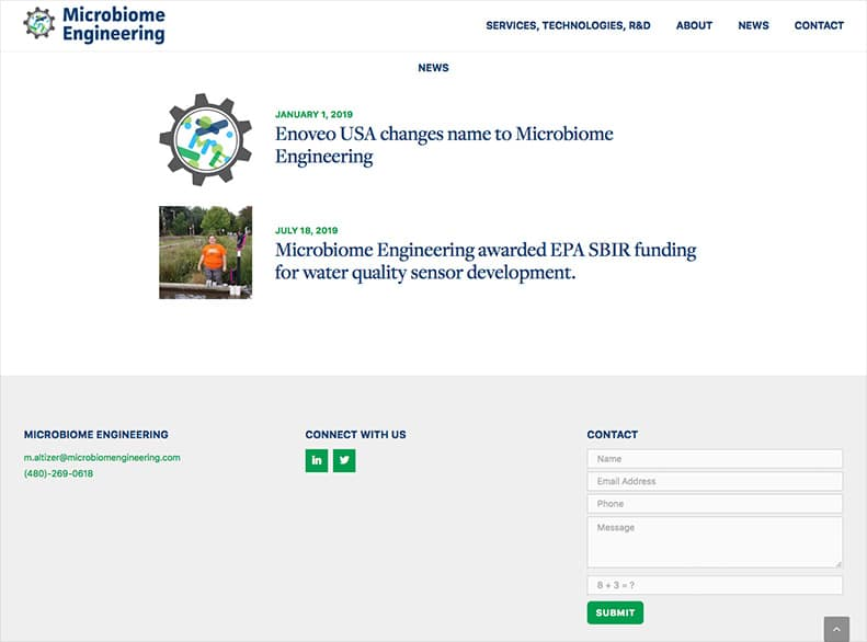 Microbiome Engineering Mobile Website